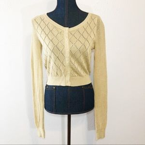 Anthropologie Moth cropped gold sweater cardigan M